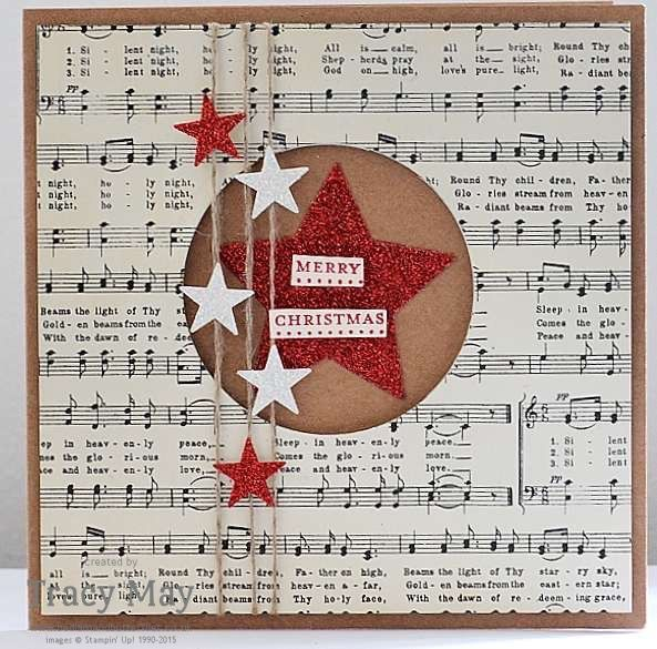 Christmas Star Card using Home for Christmas Designer Series Paper by Stampin' Up! created by Independent Demonstrator, Tracy May, Bedlam and Butterflies
