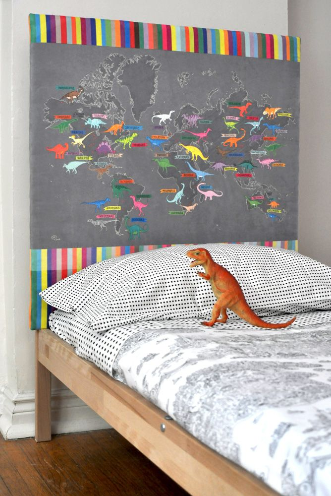 Adorable dinosaur themed kid's room.  Upholster a headboard with any pattern and color!