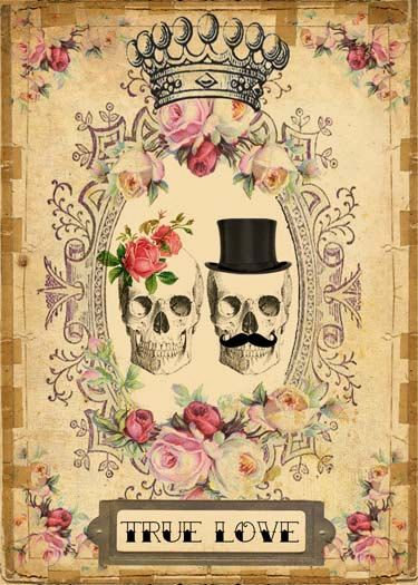 INSTANT Digital DOWNLOAD - DIY Printable Gothic Victorian Skull Couple - Antique…