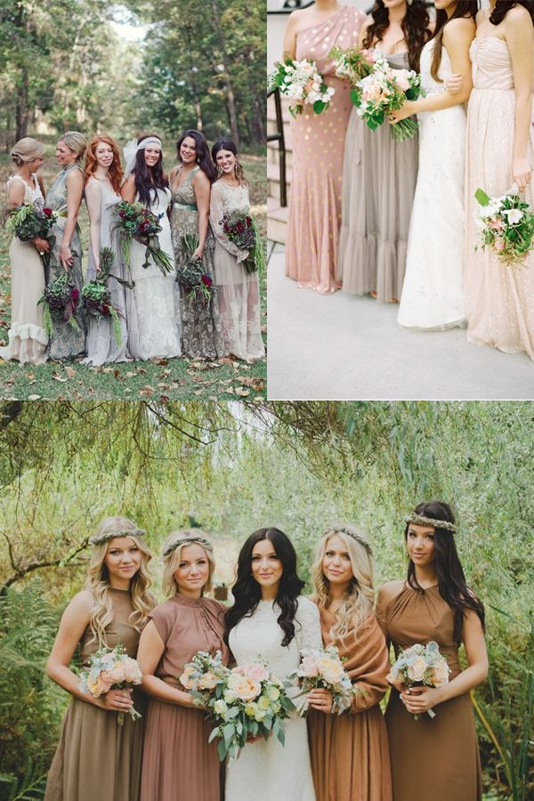 Especially looking at the bottom image -- mismatched bridesmaids in brown, tan, taupe, neutral, earth tone dresses.