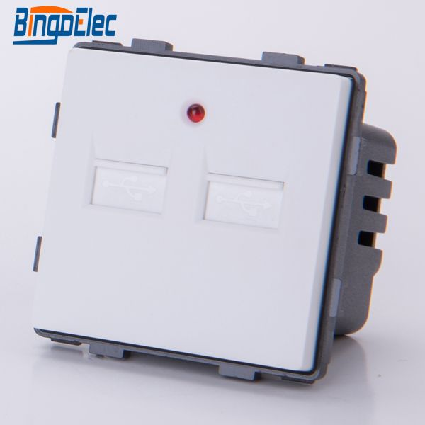 3Colors EU and UK standard  Dual USB wall socket part ,output 5V 2.1A,CE free shipping
