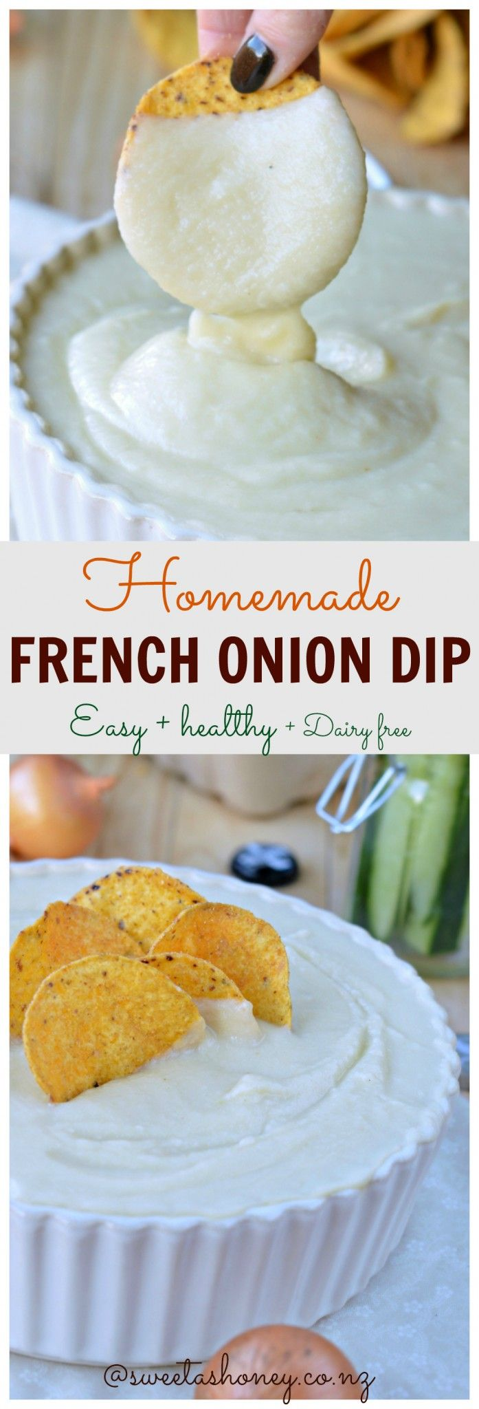 Homemade Low calorie French Onion Dip super creamy and dairy free!!!! Check out the magic ingredients in this recipe I am vegan too.