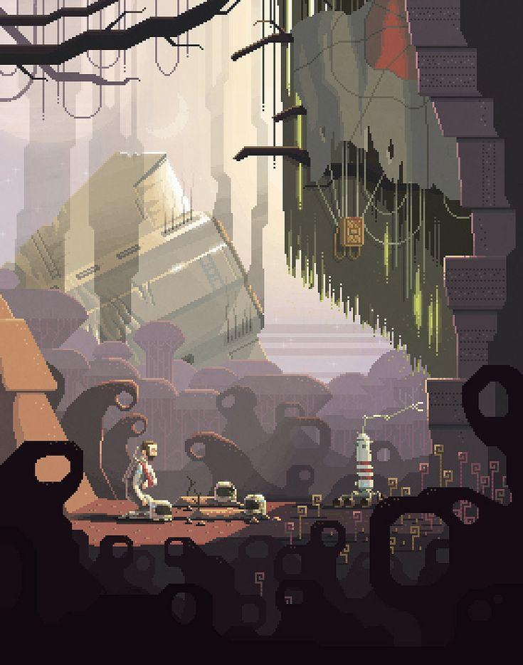 Scene #14: 'Ben'.  Pixel Art illustrations by Octavi Navarro. 2015. www.pixelshuh.com