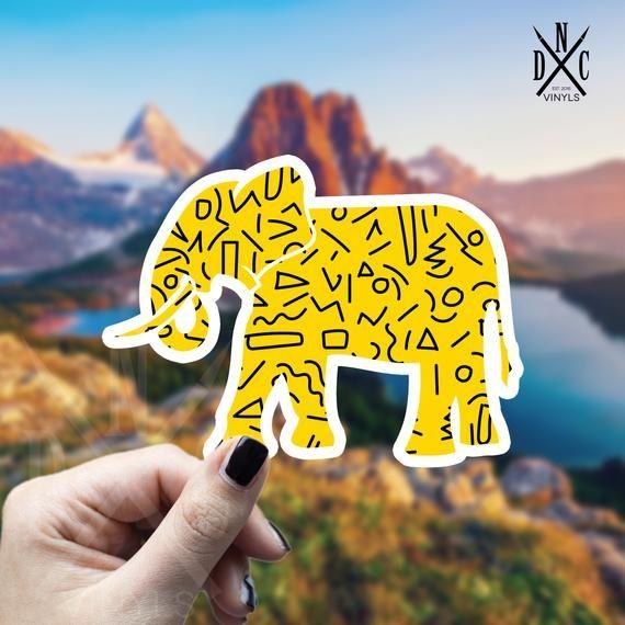 Retro Elephant Vinyl Sticker, Best Friend Gift, Laptop Decals, Animal Sticker, Decal, Macbook Decal, Stickers Macbook Pro