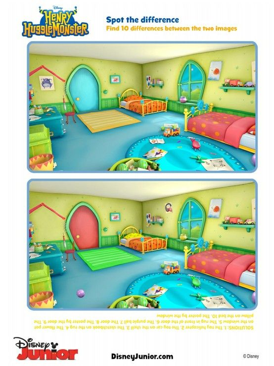 See if you can find the differences in the pictures and check out more Henry Hugglemonster fun on disneyjunior.com/henryhugglemonster