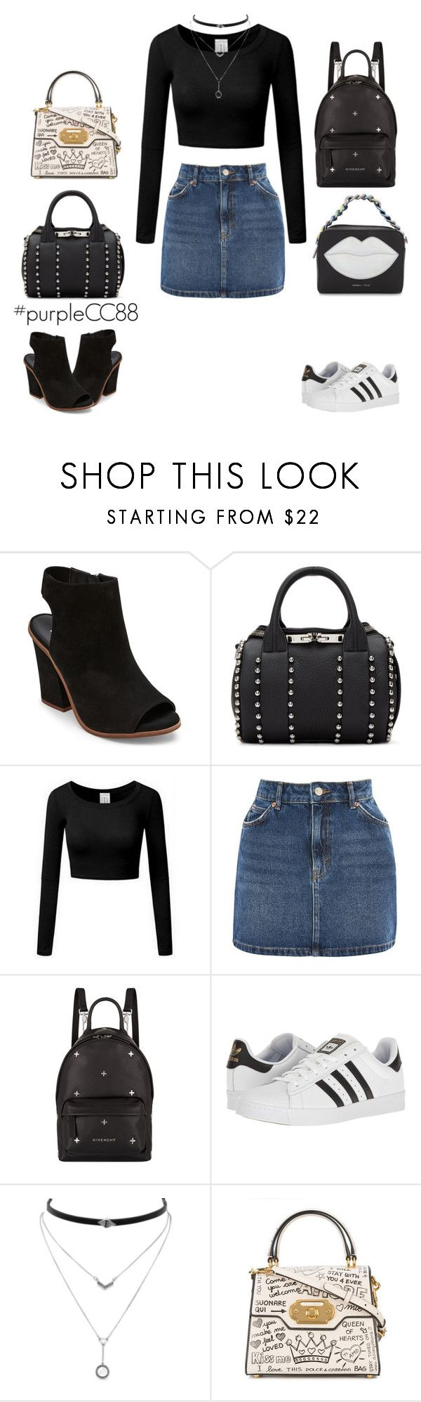 """""""Comfy + Chic + Black"""" by purplecc88criss on Polyvore featuring Steve Madden, Alexander Wang, Topshop, Givenchy, adidas, Jessica Simpson, Dolce&Gabbana and Kendall + Kylie"""