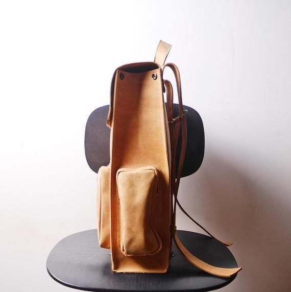 Handmade Tan LEATHER Backpack  Rucksack on Snap buttons from cowhide leather Simple leather Hipster backpack with one front pocket