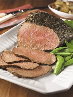 Garlic-Herb Crusted Beef Roast: I suggest marinating the meat in the spice rub for as long as possible before cooking, but then follow directions. Yum!