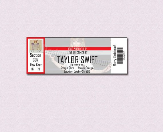 Taylor Swift Custom Concert Ticket Gift Certificate by DesignsMadeSimple