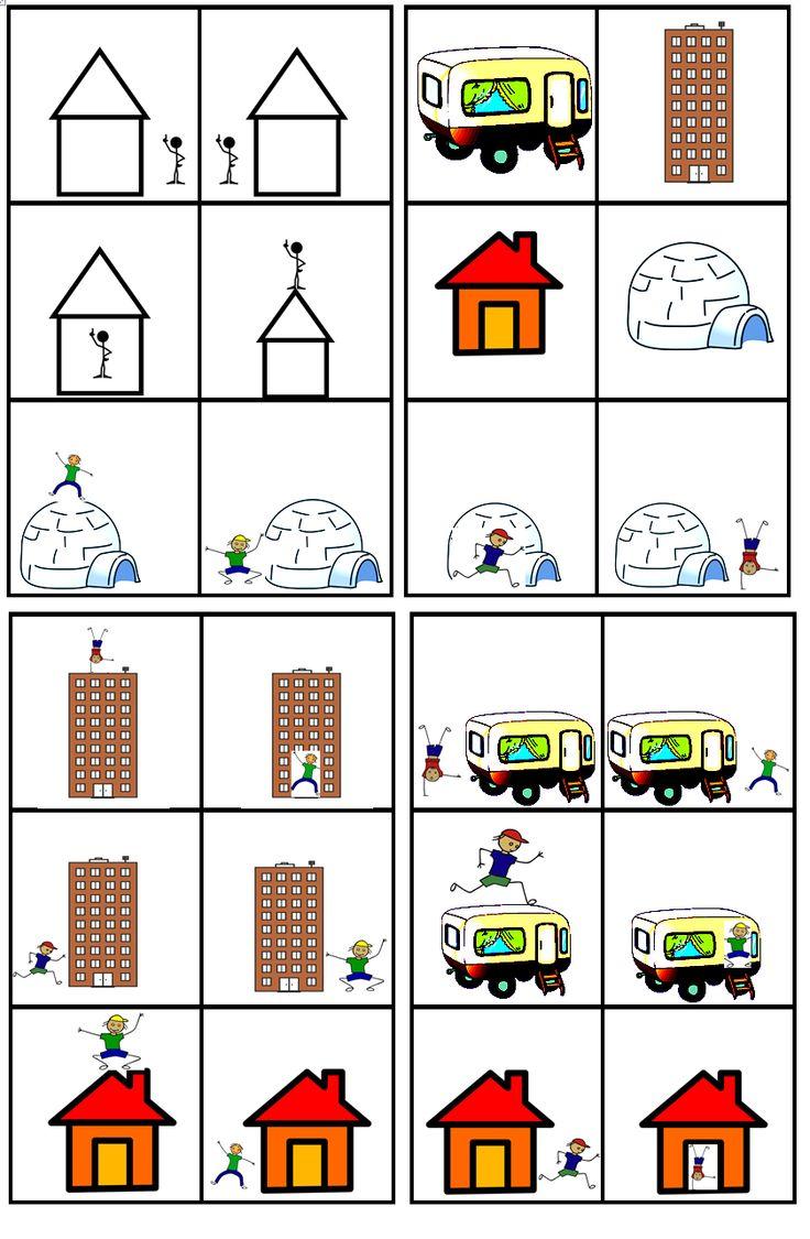 matrix huizen: ruimtebegrippen: op, naast (links en rechts) voor