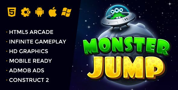 Monster Jump - Endless Jumping Arcade . So now you're a space monster jumping in the space. Jump from platform to platform, collect more coins and grab useful power-ups. Avoid collisions with asteroids, space mines and robots and jump as much higher. Just tilt your device or press left or right on keyboard to move left/right then tap the