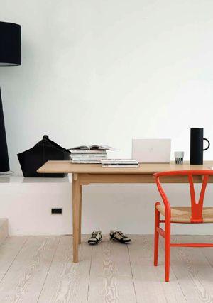 white / wall / light / wood / floor / funky / orange / chair