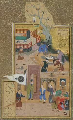 The Son Who Mourned His Father: Folio from the Mantiq al-tair (The Language of the Birds) of Farid al-Din 'Attar, Timurid period (1370–1507), dated A.H. 892 / A.D. 1487