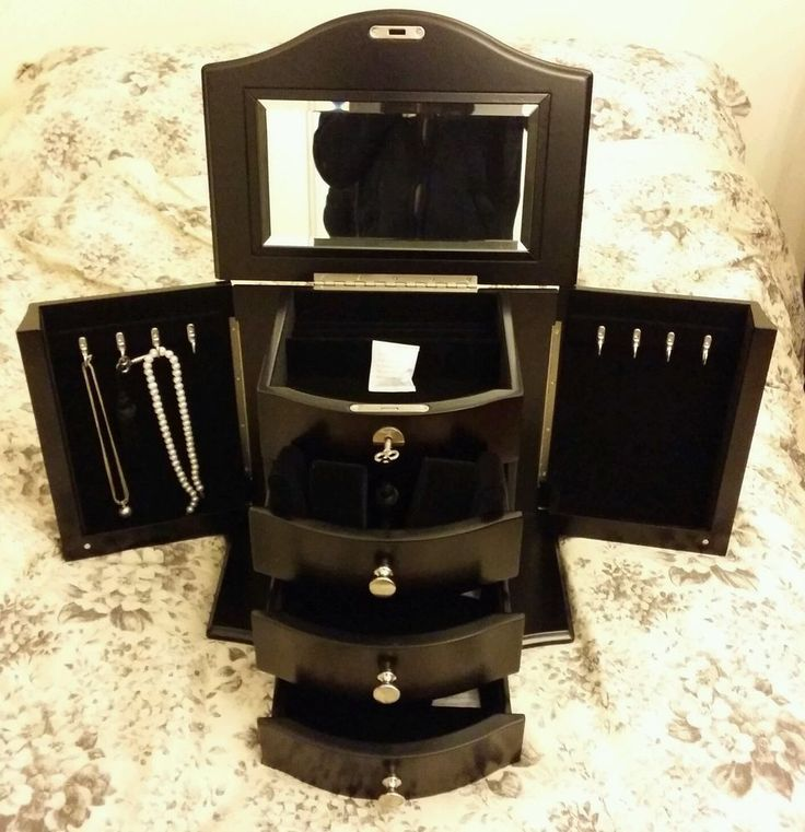 Large Wooden Jewellery Box Storage Trinket Case Locking +Drawer+Necklace Cabinet