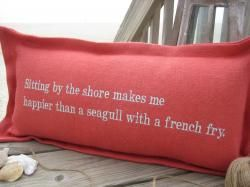 happiness....seagull & a french fry in poppy with sea mist thread.  *new* cottage coastal store