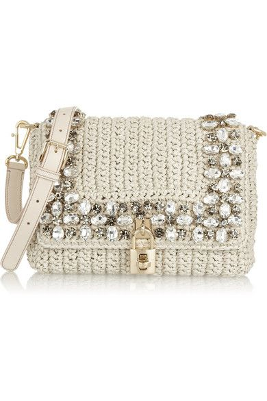 Dolce Gabbana Crystal Embellished Raffia Shoulder Bag..