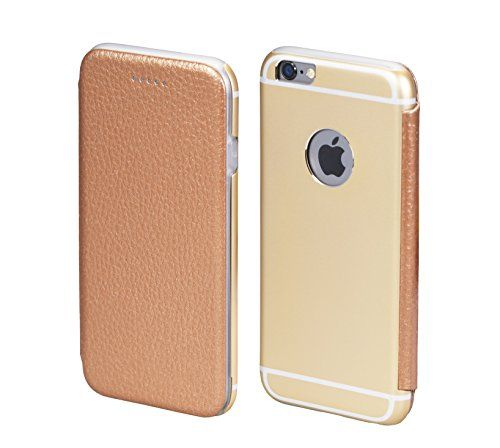 PhoneStar Premium Apple Echtleder Schutzhülle. Aluminium Metall Rückseite mit schützendem Silikon Inlay in gold.