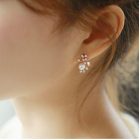 rose gold leaves rhinestone wedding stud earrings with pearl EWAER052