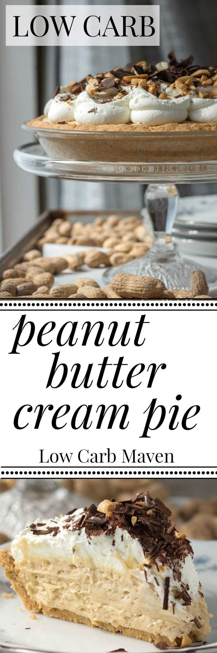 Low carb peanut butter cream pie is sugar free and keto