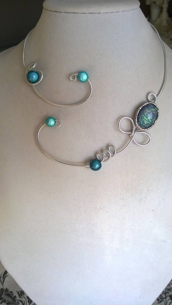 Turquoise wedding necklace Turquoise jewelry Aluminium wire