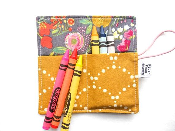 Mini Crayon Roll - Budquette Nightfall  - flower small crayon holder, garden party favor, art party favor, toddler gift,