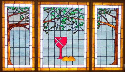 Three-panel Tree of Life set for a large church entryway/stairwell. Original design by Kelly Haggard Olson. All Rights Reserved.