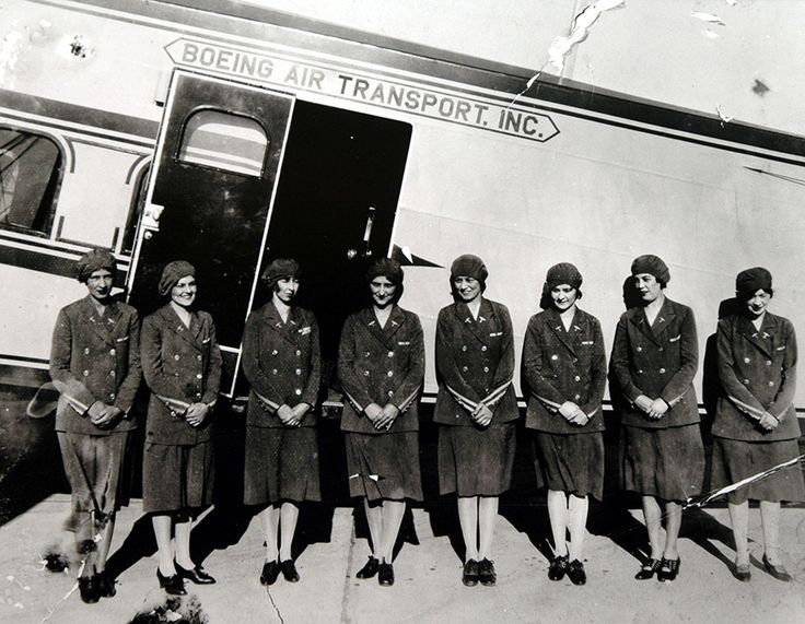 The Airline Industryu0027s First Stewardesses Ready For Inspection For Boeing  Air Transport, 1930 U2013 Flapper Stewardesses!