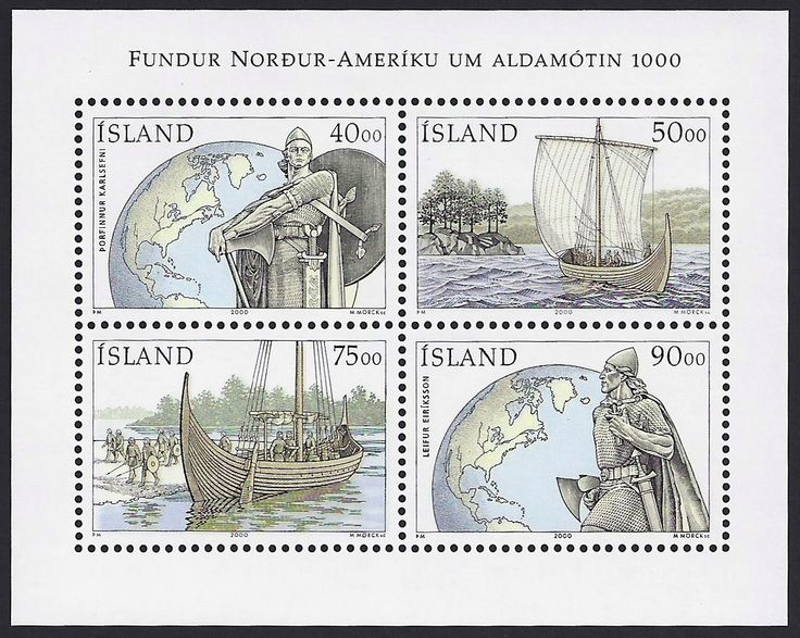 Iceland Scott #905a (16 Mar 2000) Souvenir Sheet 1000th Anniversary of the Discovery of Vinland: Viking with shield, globe; Viking ship sailing; Viking ship at shore; Viking without sheild, globe. Vinland: the name given to an area of North America by Norse Vikings, discovered by Norseman Leif Erikson.
