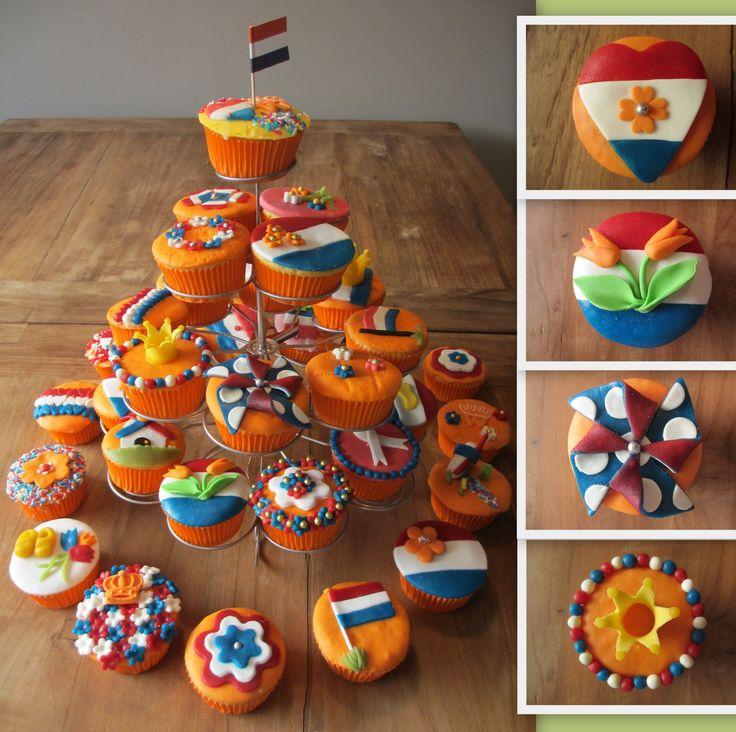 Lekkere en leuke cupcakes voor koninginnedag.