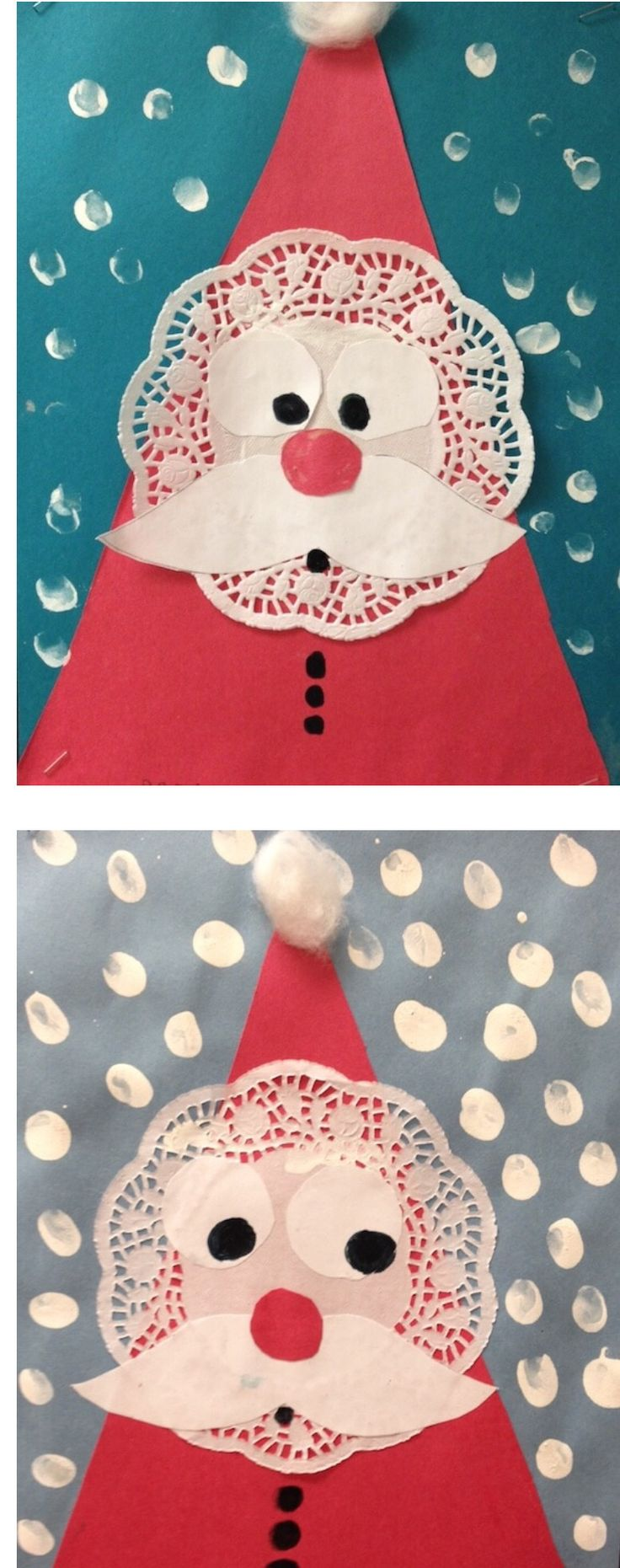 Santa Claus doilies! We made these in Grade 1. Super easy as you can see. Http://www.gradeonederful.com