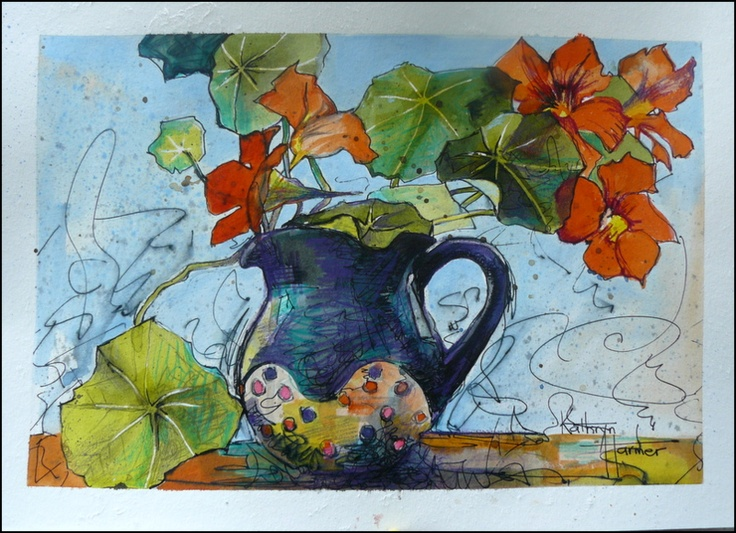 Artist: Kathryn Harmer Fox Title: Nasturshims in Spotted Jug.  Medium: Mixed media on paper. Pen, ink, graphite, charcoal, coloured pencil on 300gsm paper.