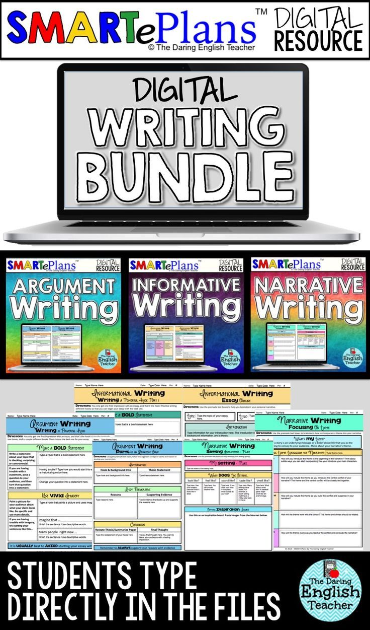 Digital, interactive writing bundle for middle school and high school English. Digital narrative, informational, and argument writing.   This Google interactive writing bundle includes all three of my common core aligned Google digital writing lessons: argument, informational, and narrative.
