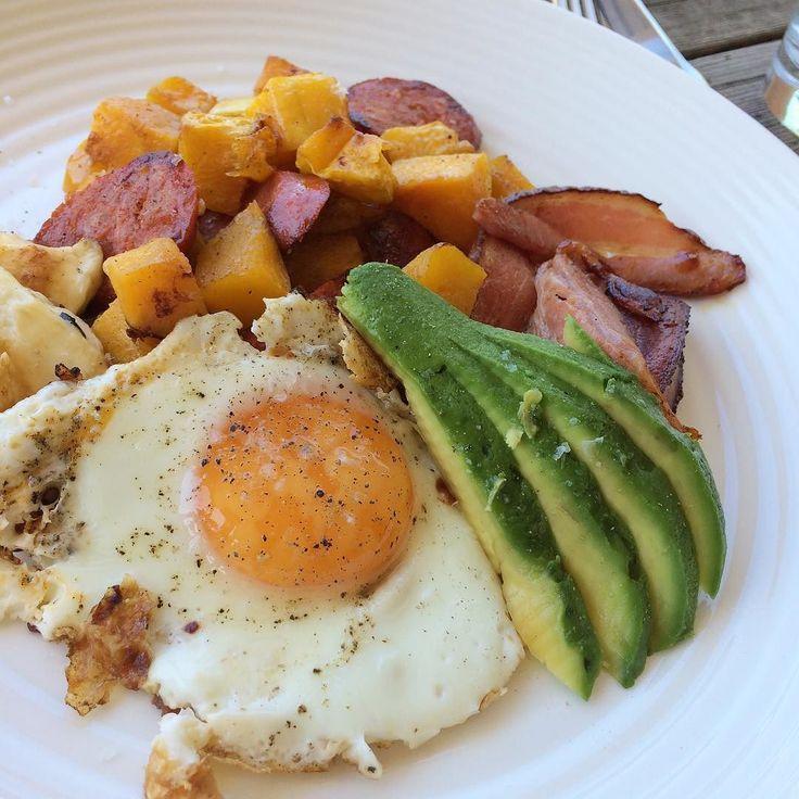 Saturdays brunch. Pumpkin & chorizo hash haloumi Avo & egg. With a side of bacon. #figmintathome #brunch #glutenfree #yum #treatyourself