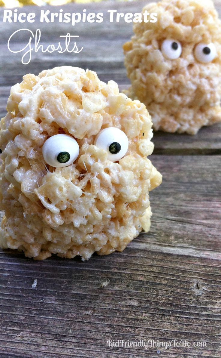 Rice Krispies Treats Ghosts - A Halloween Fun Food - So simple to make, the kids can even do it!
