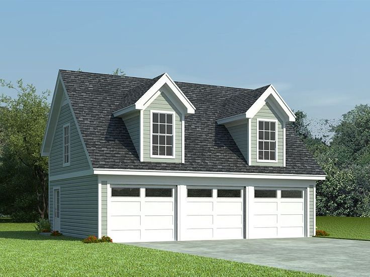 3-Car Garage Loft Plan, 006G-0087 With shed dormers, a steep roofline and a siding façade, this 3-car garage plan with flex space sports Cape Cod styling. Three overhead garage doors open to three separate parking stalls delivering 810 square feet of usable space, ideal for three automobiles or perhaps two cars and a workshop area.
