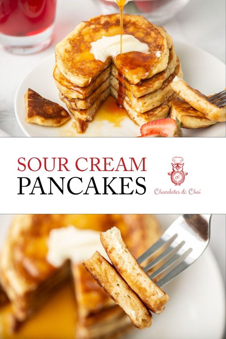 Sour Cream Pancakes Recipe In 2020 Sour Cream Pancakes Tasty Pancakes Vegan Recipes Easy