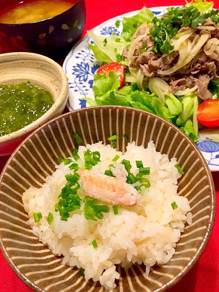 まるま's dish photo 白だしで蟹缶の炊き込み御飯  牛しゃぶサラダなど   http://snapdish.co #SnapDish #レシピ #晩ご飯 #サラダ #肉料理 #混ぜ・炊き込みご飯/お粥