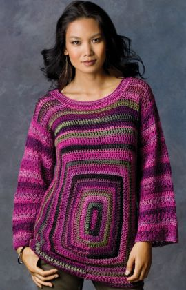Square Deal Sweater Free Crochet Pattern from Red Heart Yarns