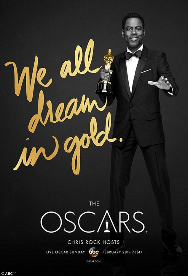 Promo push: Host Chris Rock poses holding an Oscar in a new poster unveiled Tuesday for the 2016 Academy Awards