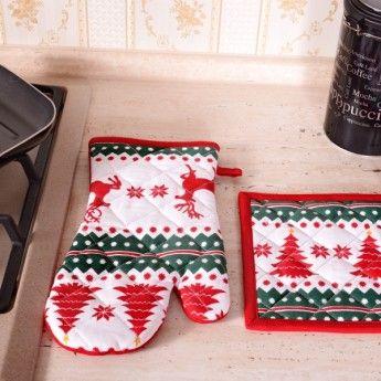 Set bucatarie manusa + suport + prosop Craciun CB2278   Set de bucatarie   Atria - magazin online de textile pt bucatarie