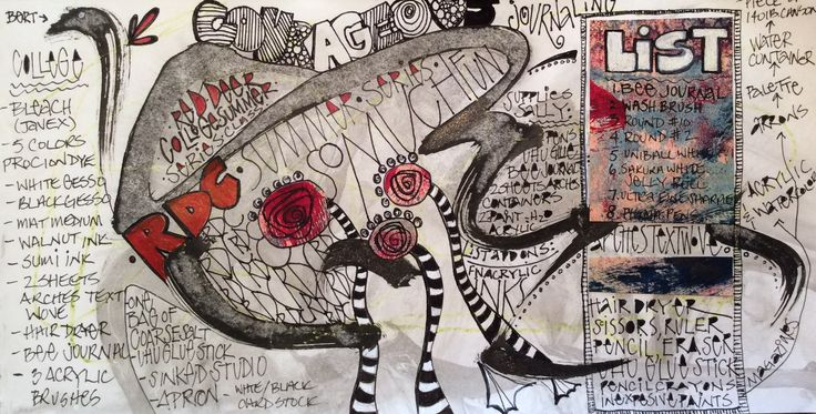 Courageous journaling by Sally Towers-Sybblis. Mixed media, collage, and lettering on paper. 6x12""