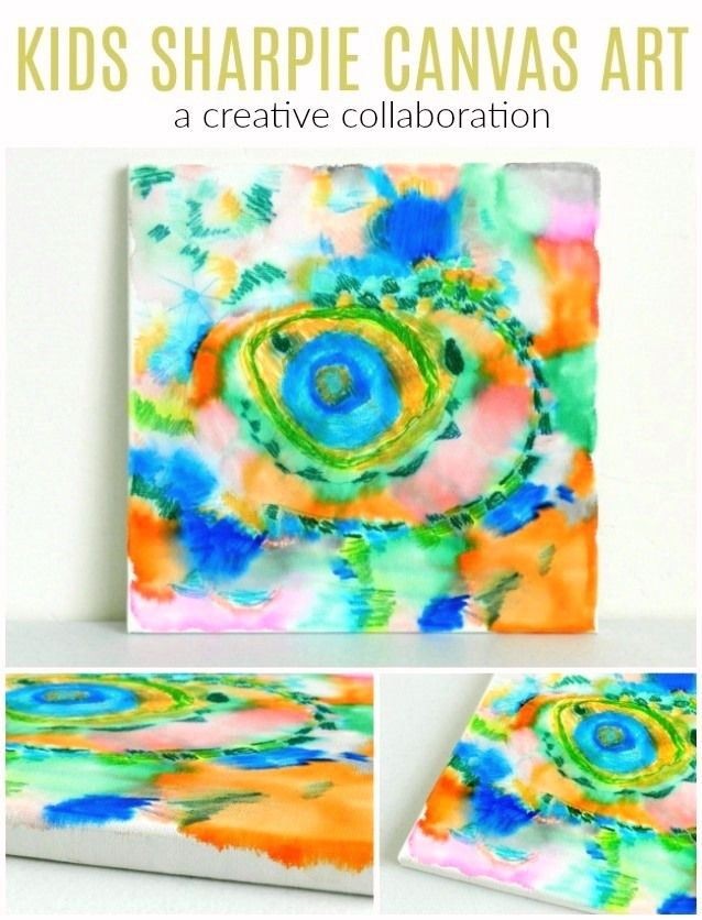 Experiment with markers and rubbing alcohol on canvas to create this collaborative piece of kids sharpie canvas art! Grow Creative Blog