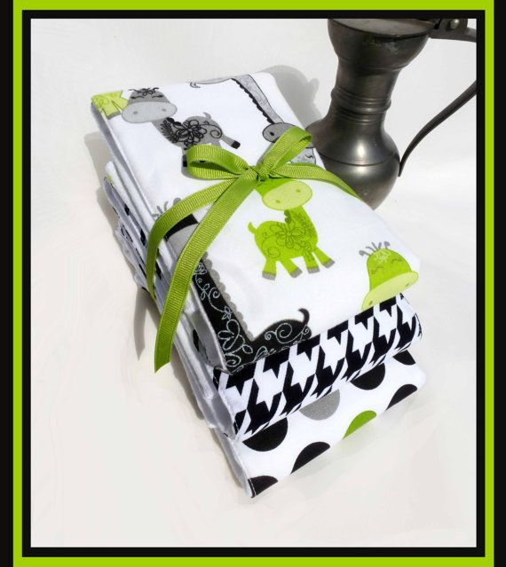 Giraffe Cloth Diaper Burp Cloth Gift Set - Neutral Baby Gift in Grey, Kiwi Green, Black and White Designer Coordinating Fabricss
