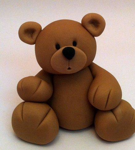 Fondant Teddy Bear Cake Topper Beautiful Cake Decoration Great cake idea for Christening and baby's first birthday