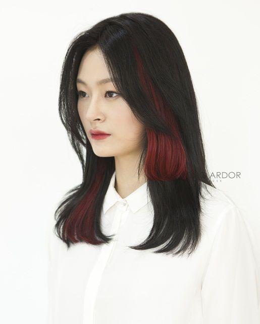 #Twotone #bridge #haircolor #tassle #wine #red #brown #color #hair #beauty #cut #chahongardor