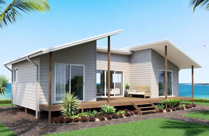 Kit homes Melrose is perfectly suited for a holiday home or a retired couple. This modern looking design with its unusual skillion roof is neat and compact. The snug deck leading off the living area is ideal for alfresco dining.
