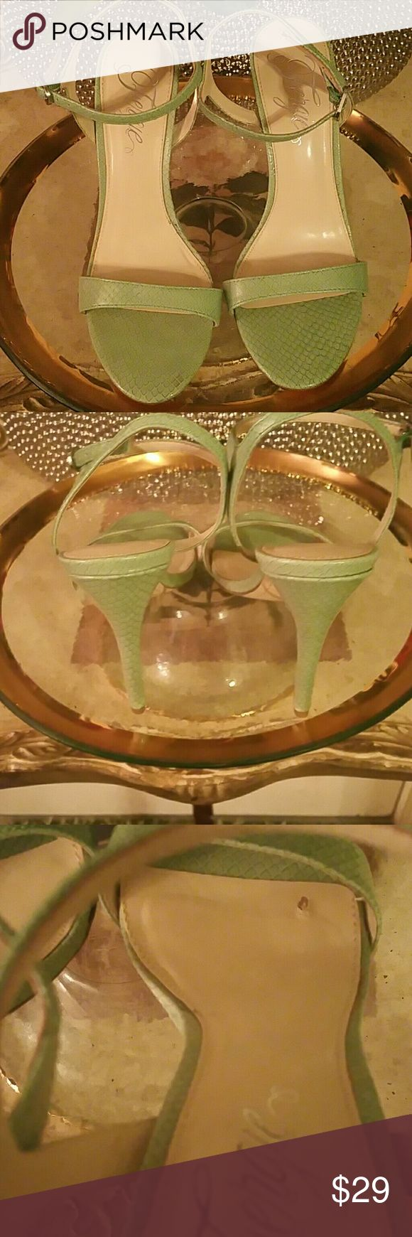 """FERGIE(ROXANNE) SANDALS This is a pretty shade of green and they are ready to go home with the right person. The heel is about 4.5"""". Please see photos. These are pre-owned in good condition. Please see pic 3 for the extra love on the inner sole. Leather upper and the rest man-made. 11.9.16 Fergie Shoes Flats & Loafers"""