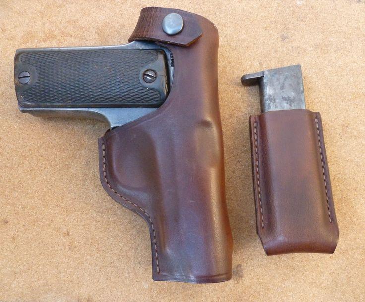 Matching holster and magazine holder set for Eibar Ruby 7.65mm pistols - custom made leather goods from makeitjones.co.uk