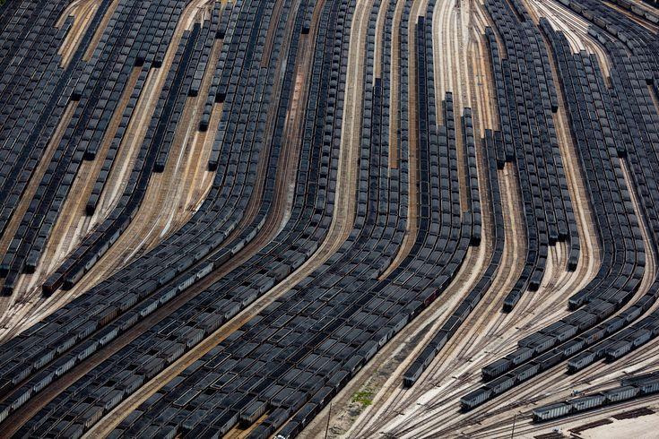 Loaded coal train cars in Norfolk, Virginia, taken in 2011.
