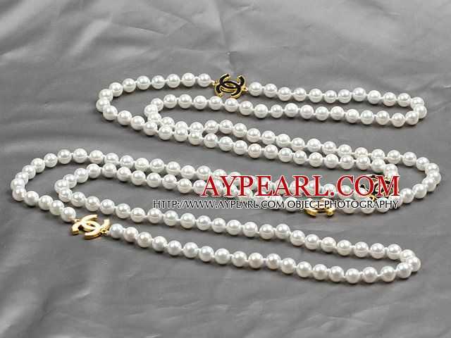 Long Style 8mm White Color Sea Shell Beaded Necklace